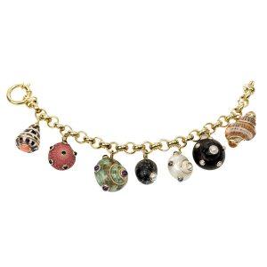 18k Gold Bracelet w/ Shell Charms