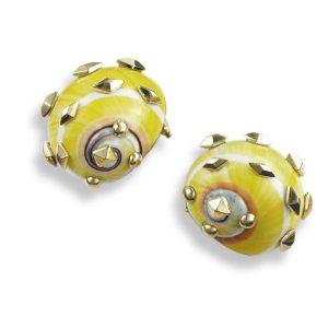Yellow Polymita Picta Shell Earrings