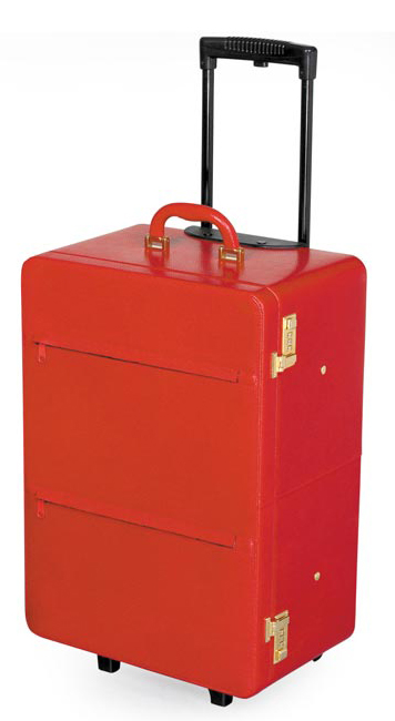 small leather travel trolley red