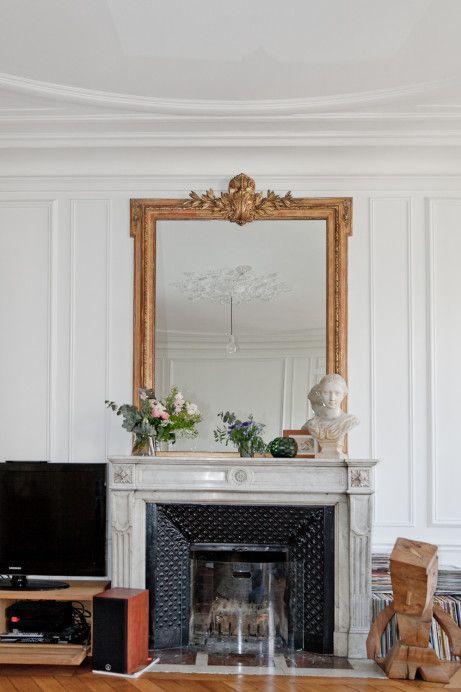 decorative mirrors above mantel
