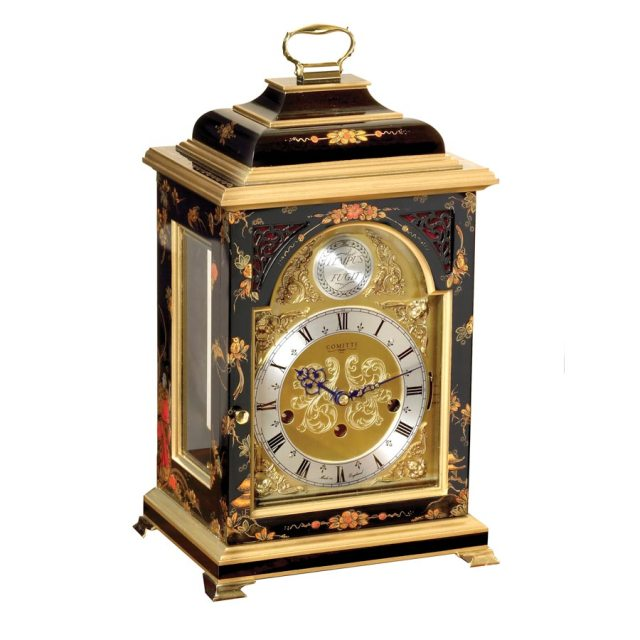 black lacquer chinoiserie clock gold home decor