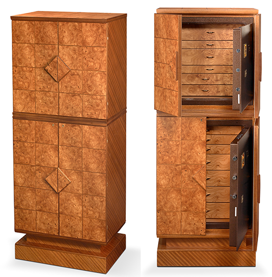 Armoured Jewelry Armoire in Elm Briar and Mahogany, Double Version.