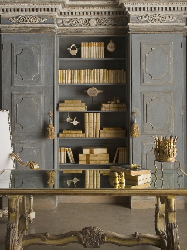 gold accents home decor library
