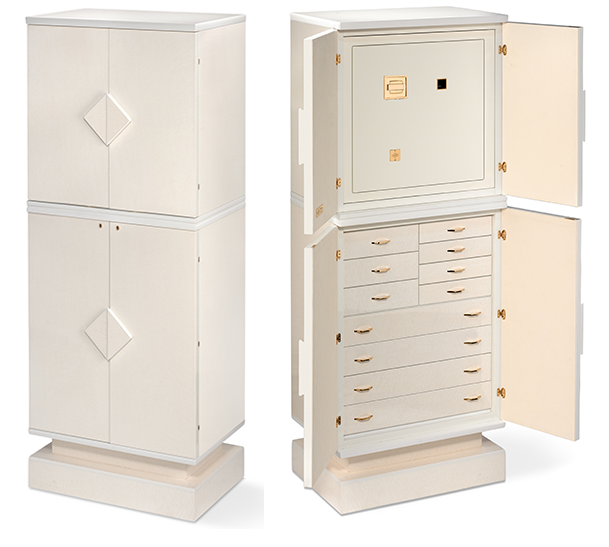 Armoured Jewelry Armoire in White Bird's Eye Maple, Double Version.