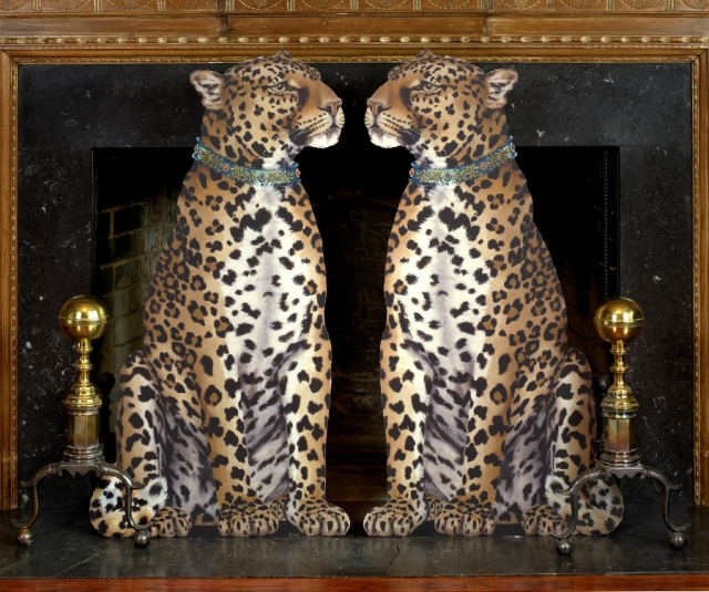 leopard fireplace screen scully and scully