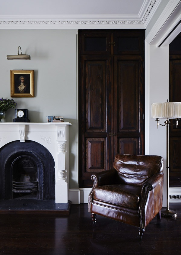 leather chair fireplace