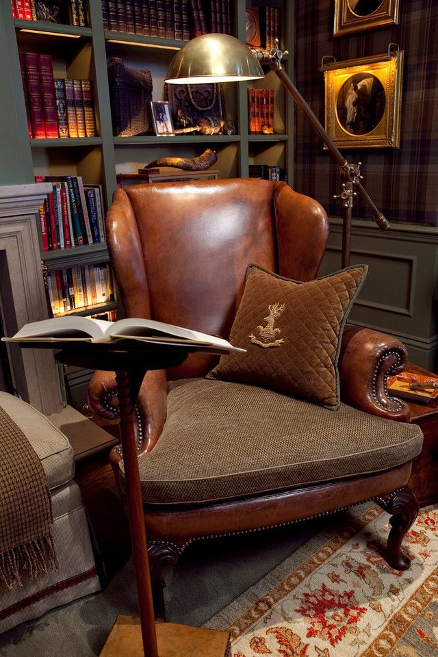 leather chair library
