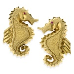 18k Gold Seahorse Earrings with Ruby Eyes