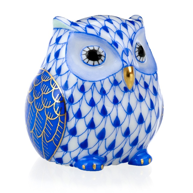 Herend Owlet in Sapphire