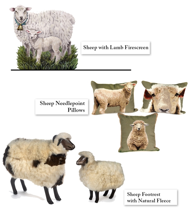 Sheep Decor pillows footstools scully & scully