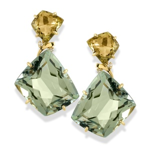 18k Gold Quadrilateral Praziolite & Olive Quartz Earrings