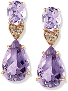 pink amethyst gold earrings