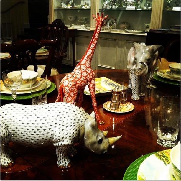 herend porcelain elephant giraffe