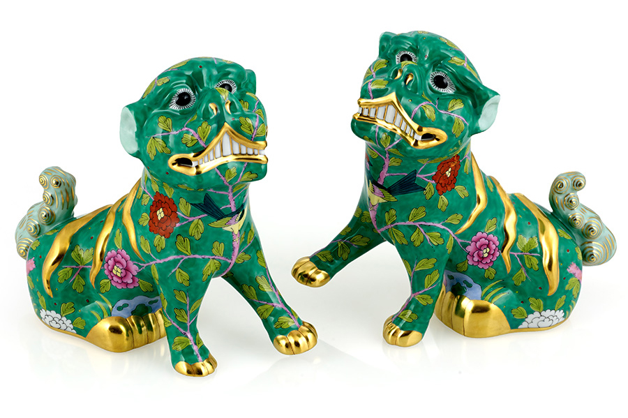 herend pair imperial foo dogs chinoiserie